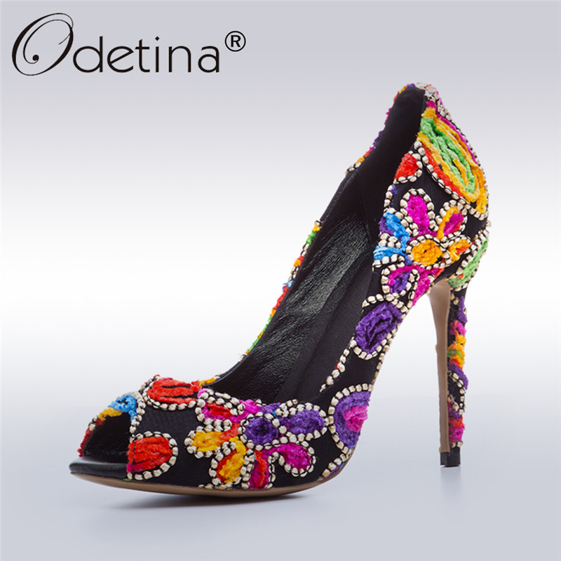 Odetina 2017 Brand Extreme High Heels Sexy Peep Toe Stilettos Thin Heel Pumps Fashion Embroidery Women Party Shoes Big Size 43 цены онлайн