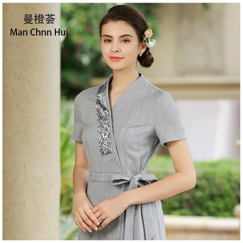 Beauty salon work clothes thai massage uniforms gray nurse for Uniform spa thailand