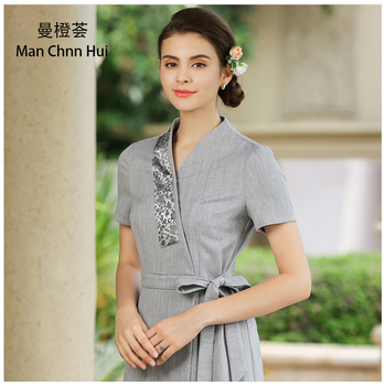 Beauty salon Work Clothes Thai Massage Uniforms gray Nurse Uniform High Quality Uniforms Dress Spa Clothing Scrubs