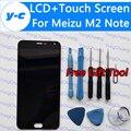 Para meizu m2 note display lcd + digitador da tela de toque do painel de vidro para meizu m2 note 1920x1080 telefone fhd 5.5 ''cell-em estoque