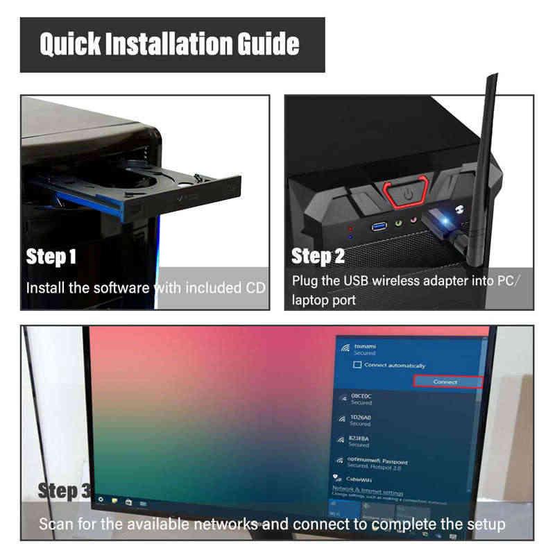 USB 3.0 Wifi AC 1200 Mbps 5G/2.4G 2 Băng Tần Phát Wifi Không Dây Với 5Dbi Anten Độ Lợi Cao, hỗ trợ C