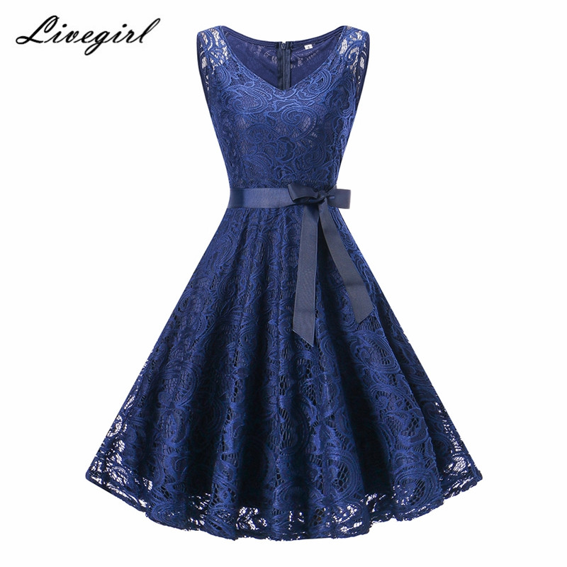 b37a9dd16c63 Vintage Floral Lace Pleated Dress Women Sleeveless V-Neck Elegant ...