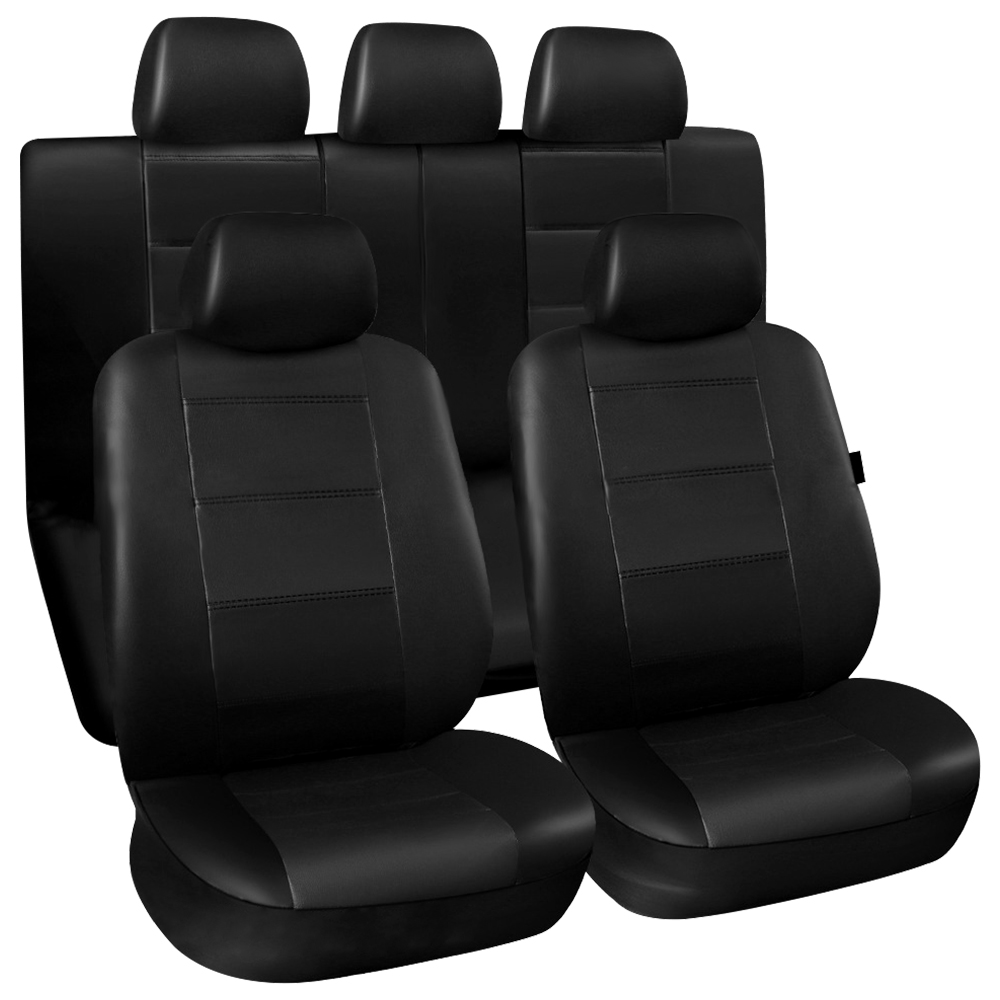 11 Pcs Black Car Seat Cover Set Universal Auto Vehicle Seat Protector PU Leather Dustproof Automobiles