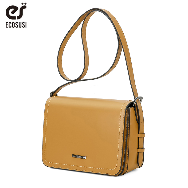 ECOSUSI Women Messenger Bags PU Leather Women Crossbody Bags Female Flap Crossbody Bag