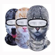 3D חתול כלב בעלי החיים גרב אופניים אופני סנובורד המפלגה Skullies כפת קסדת אוניית חורף כובע חם מלא מסיכת פן נשים גברים