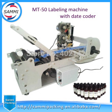 Горячая этикетировочная машинка для круглых бутылок с кодовым принтером, полуавтоматическая этикетировочная машина