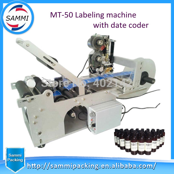 Hot Sale Rrund bottle labeling machine with code printer, semi-automatic labeling machine labeller eco mt 50 semi automatic round bottle labeler labeling machine 120w 20 40pcs min