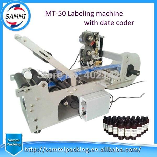 Offre Spéciale bouteille Ronde machine d'étiquetage avec code imprimante, semi-automatique machine d'étiquetage étiqueteuse