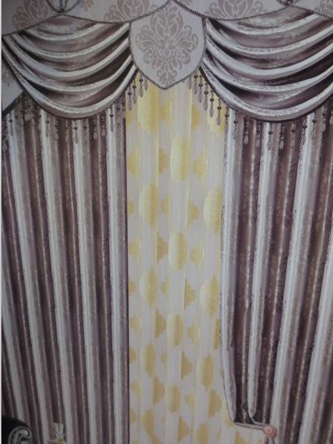 A green three sided folder embossed black silk curtains shade ...