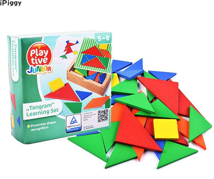 Intelligent Ipiggy Kleurrijke Houten Tangram Brain Teaser Puzzel Speelgoed Tetris Spel Voorschoolse Magination Intellectuele Educatief Kid Speelgoed Gift Exquise (On) Vakmanschap