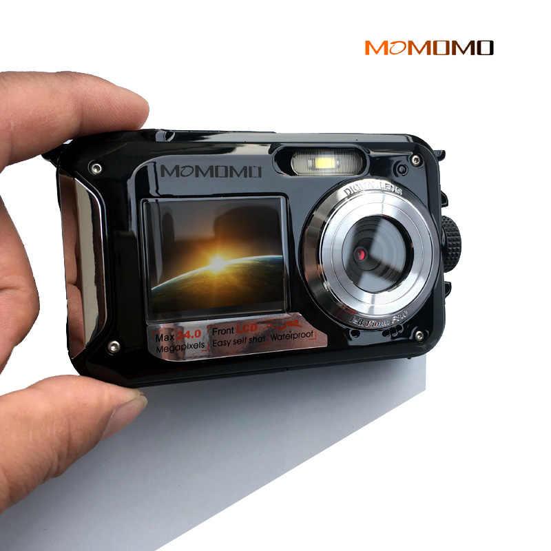 Waterproof Digital Camera Dual Screens Back 27 Inch Front 18 HD 1080P