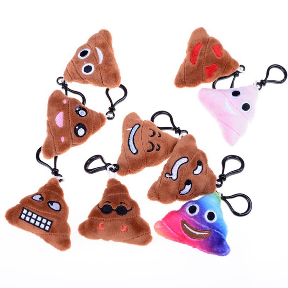 1 Pcs Cute  Smiley Emoticon Soft Stuffed Plush Poo Shape Keyring Keychain Cushion Doll Keychains