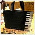 Princesa lolita doce sacola saco tipo de piano música nota escola estilo preto piano vertical saco de lona do vintage de um ombro