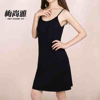 Nowy kobiety modalne bawełniane spaghetti pasek tank podstawowe pełna slip średniej długości plus rozmiar 6XL zbiornik sukienka z topem slim halki kobiece