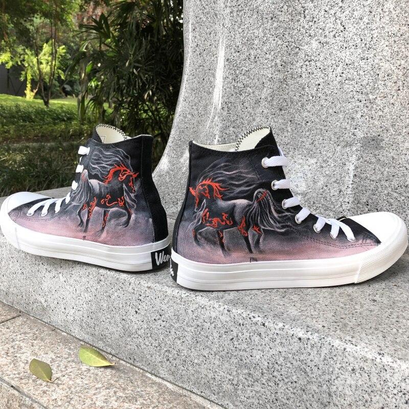 421d4b47b Вэнь индивидуальный дизайн ручная роспись оригинальный обувь скачущие  лошади высокие холщовые спортивная обувь для женщин мужчин