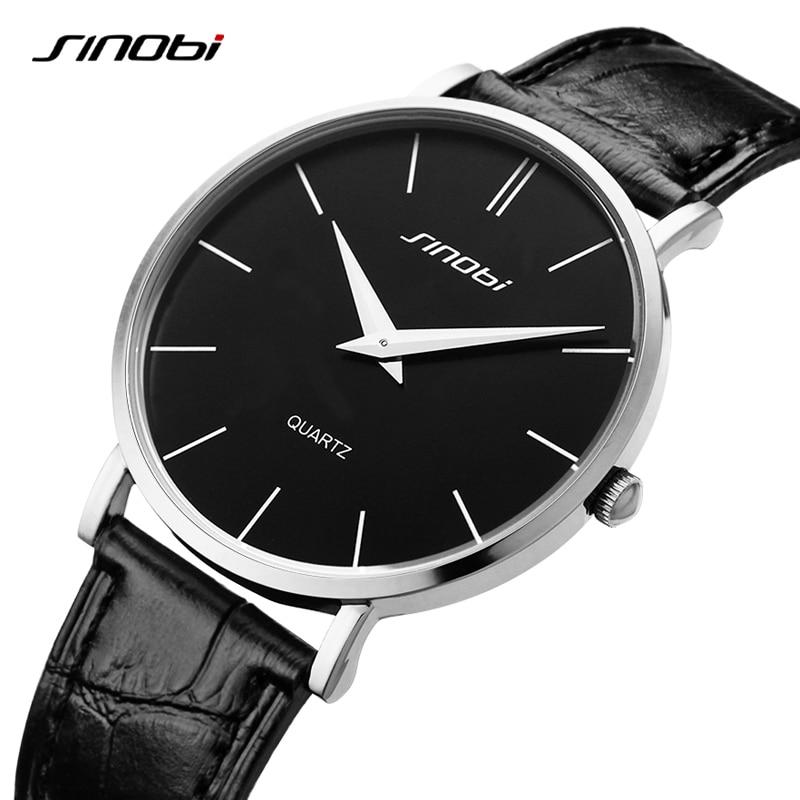 Relojes de pulsera de cuarzo informales clásicos Ultra delgados SINOBI para hombre Relojes de pulsera de cuero de marca Busness