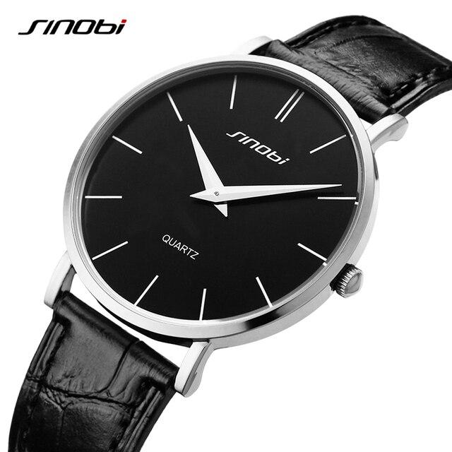 b97e082beb6 SINOBI Ultra fino Casual Clássico Homens Busness Couro Marca Analógico de  Quartzo relógios de Pulso relógio