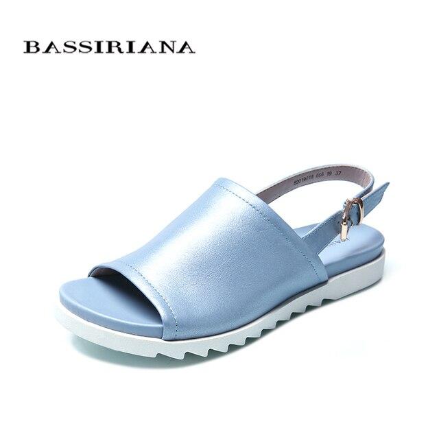 Bassiriana/Новые 2018 Летние повседневные осенние туфли больших размеров сандалии женская обувь с ремешками на лодыжках белый синий белый 35-41 размер