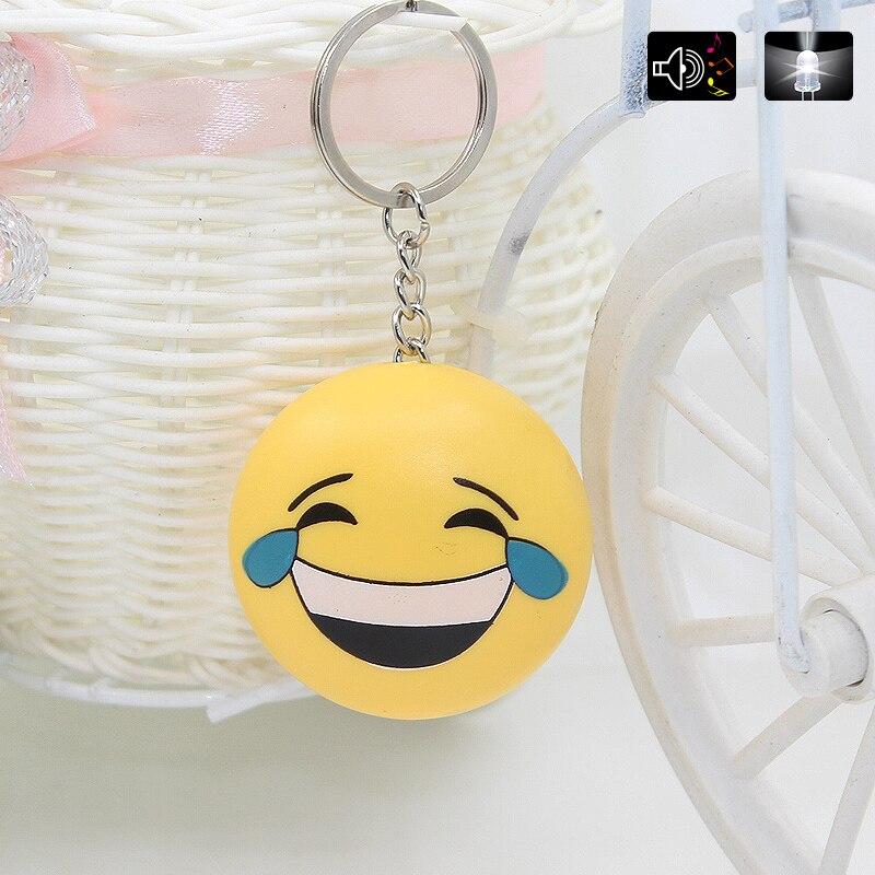 Cartoon face LED Flashlight Keychain With Sound,Kids Promotion Gift Toys,Cute expression face Led Keyring Wholesale
