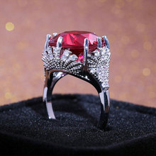Huge Red Zircon Ring for Women Fashion Silver Color Anniversary activities Jewelry 2019 New Arrivals Dropshipping