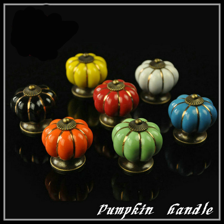 Colorful Cabinet Knobs Pumpkin Drawer Pulls Ceramic Porcelain Decorative  Cupboard Wardrobe Door Knob Bronze Hardware