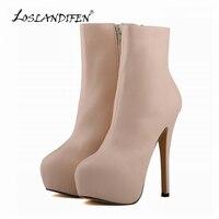 Women Sexy Matte High Heels Boots PU Leather Round Toe Autumn Winter Platform Shoes Stiletto Size
