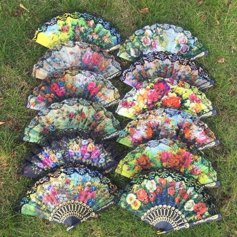 87cd4cca Free shipping 12pcs/lot elegant Spanish style plastic frame lace hand fan  fabric folding fan