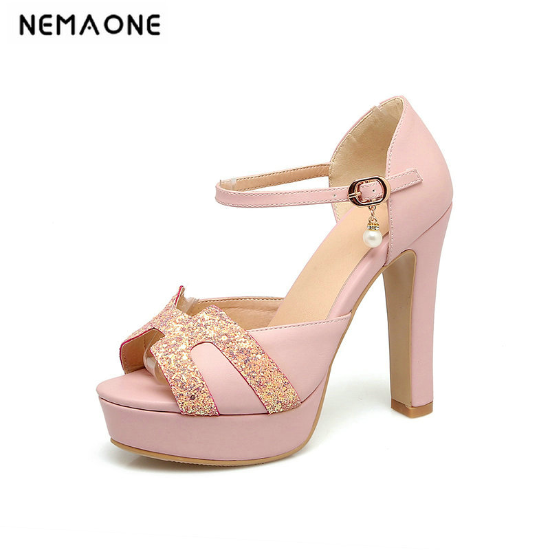Women <font><b>Sandals</b></font> 2019 Summer Shoes Ladies Solid Color Peep Toe Ultra High Heels <font><b>12</b></font> <font><b>cm</b></font> Bling Cover Heel Party Dress <font><b>Sandals</b></font> image