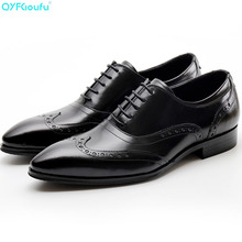 Genuine Cow Leather Pointed Toe Brogues Shoes Mens Casual Oxfords Designer Dress Shoes Black Red Wine Lace-up Shoe pjcmg fashion black red wine lace up pointed toe striped decoration genuine leather business formal casual oxfords shoes for man