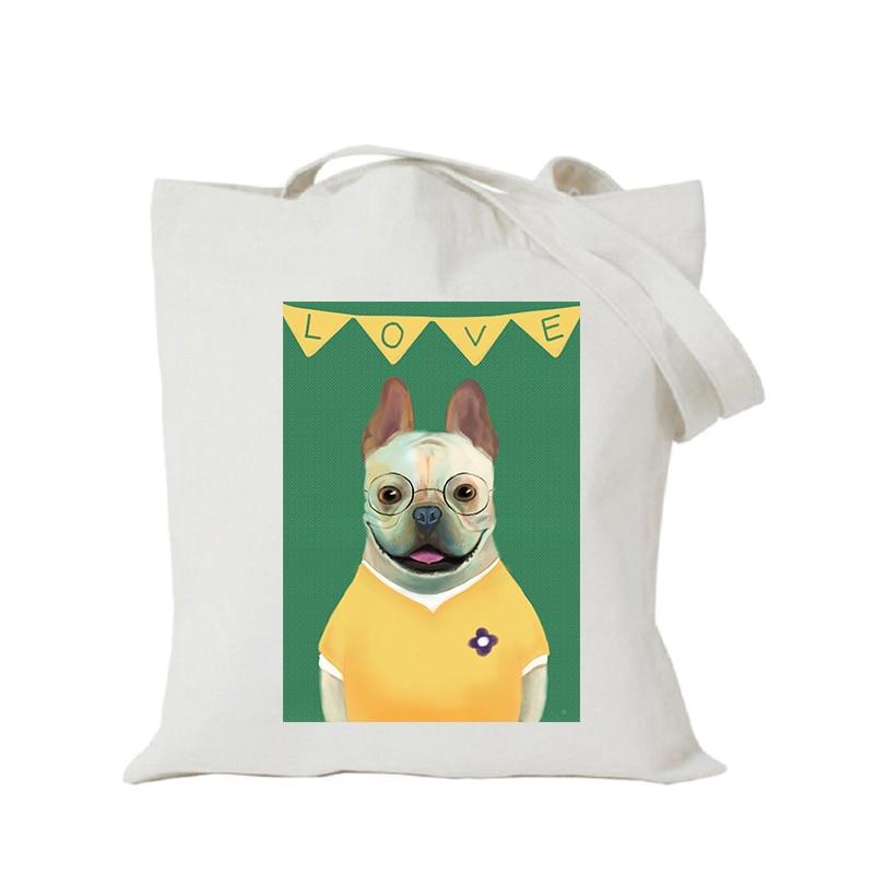 Origina kawaii canvas cartoon custom tote bag customize eco bags diy logo shopping bag with logo Dachshund Shepherd Dog Poodle (4)