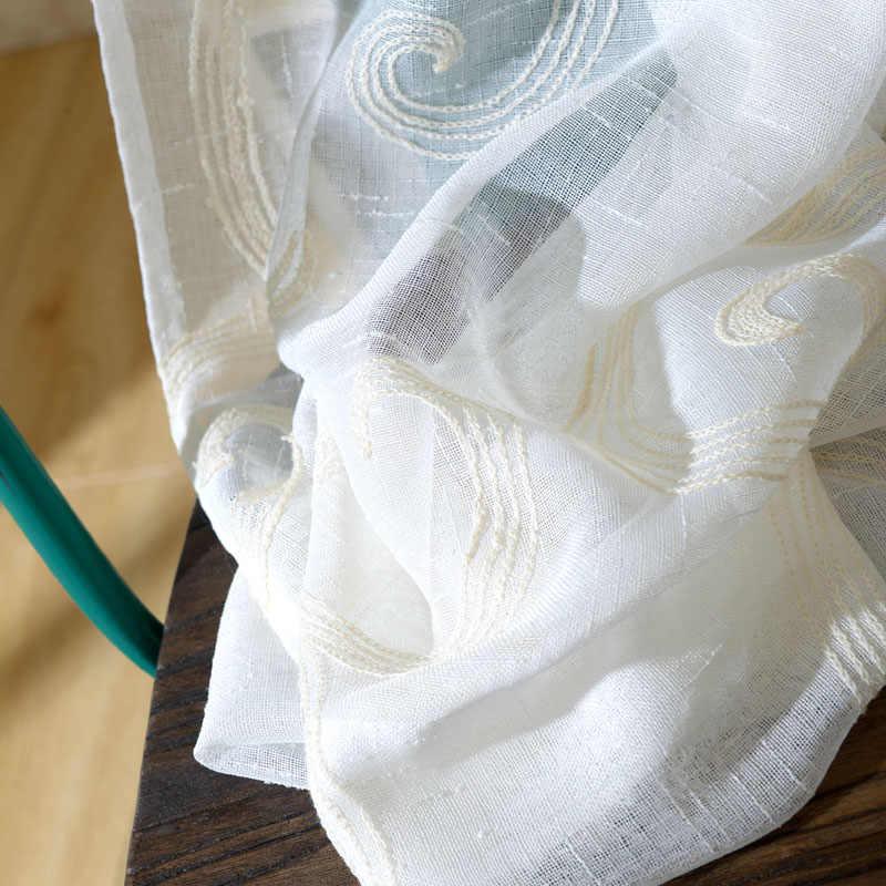 Деревенский Вышитый цветочный дизайн вуаль ткань отвесные шторы белые шторы для гостиной спальни оконная панель WP073D