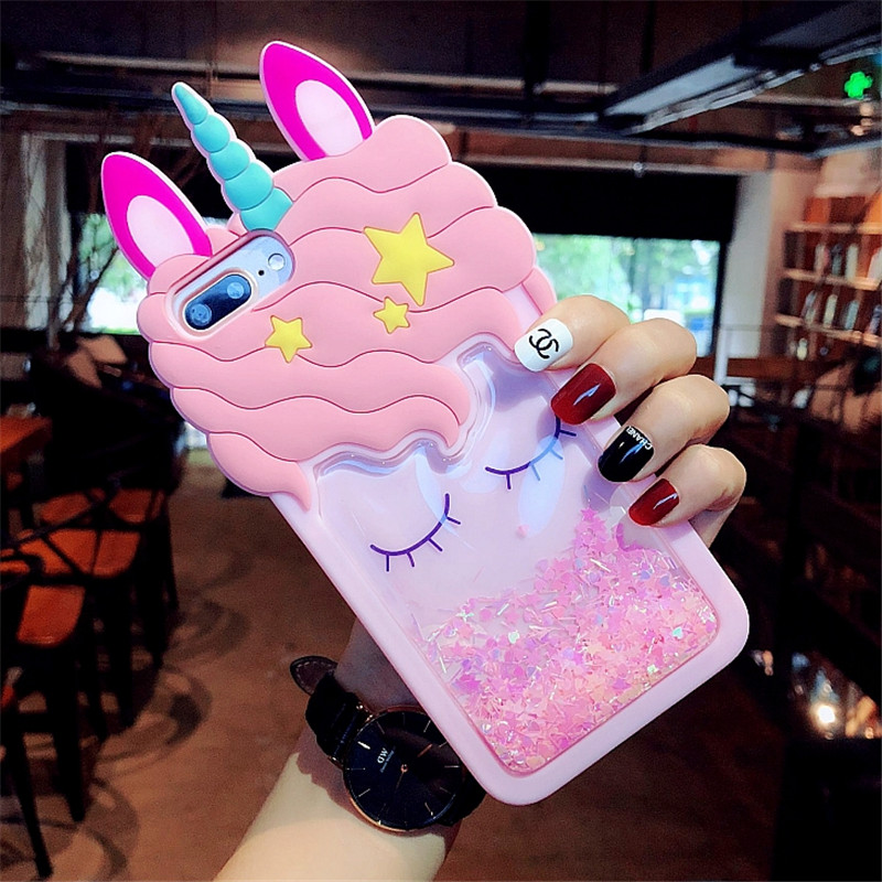 3D Silicon quicksand unicorn Cartoon Cover <font><b>Case</b></font> For <font><b>OPPO</b></font> R9 R9S Plus R11 R11S R15 F2 F3 F5 F1S A59 A57 A73 A79 <font><b>A39</b></font> A77 A37 Cover image