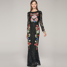 High quality embroidered lace dress Brand new design fishtail 2019 summer runways long sleeves womens maxi A205
