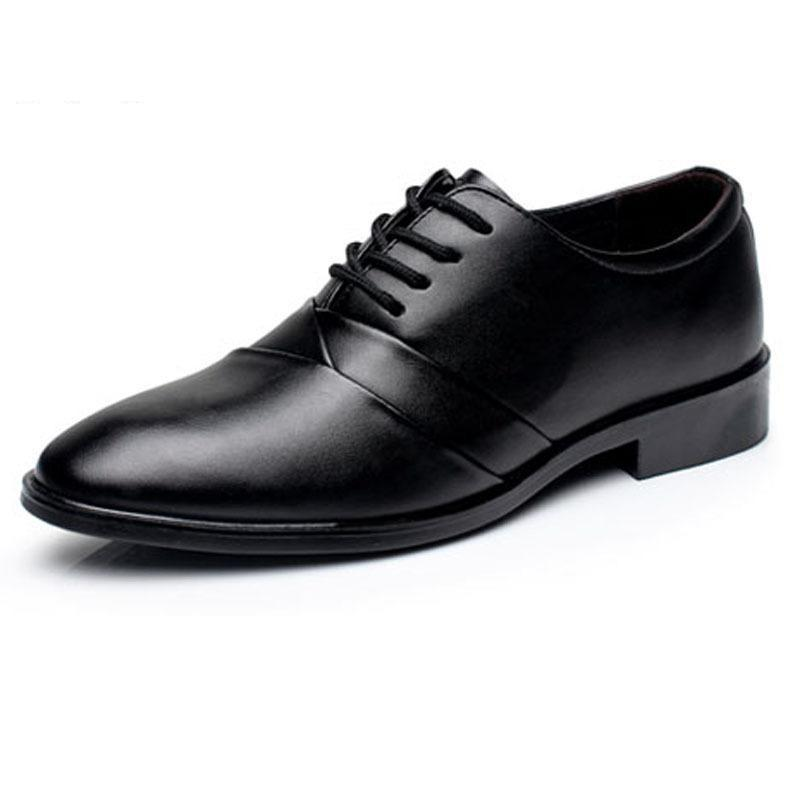 New Fashion Leather Man Dress Shoes Luxury Brand Men's Formal Business Oxford Men Shoes Lace-up Flats Pointed Toe Wedding Shoes fashion top brand italian designer mens wedding shoes men polish patent leather luxury dress shoes man flats for business 2016