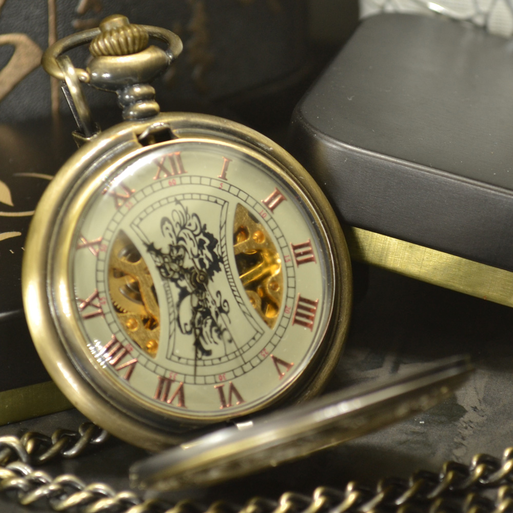 Luxury Skeleton Bronze Retro Antique Skeleton Mechanical Pocket Watch Men Chain Necklace Business Pocket & Fob Watches цена и фото