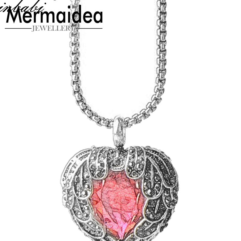 Link Chain Pendant Necklace Red Crystal Heart Gift Women 925