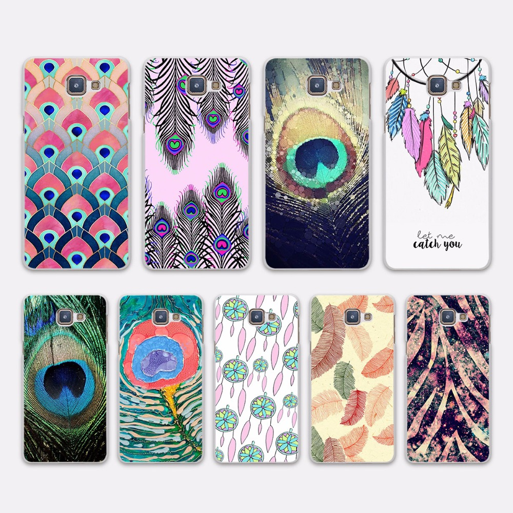 Pu leather case for samsung galaxy a7 2016 a710 peacock feather - Luxury Peacock Feather Design Hard White Case Cover For Samsung Galaxy A7 2017 A3 A5 2016