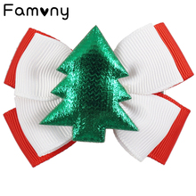 3 Pcs/lot Mini Bowknot Hairpins For Children 2 Layers Ribbon Hairbows with Tree Snow Christmas Gift Hair Accessories
