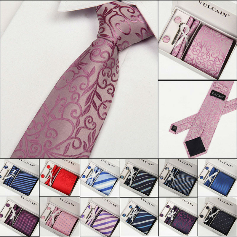 Necktie Sets New Mans Fashion Classic Dots Plaid Tie Cuff Link Tie clip Hanky For Party Formal Striped Pattern Ties Gift box