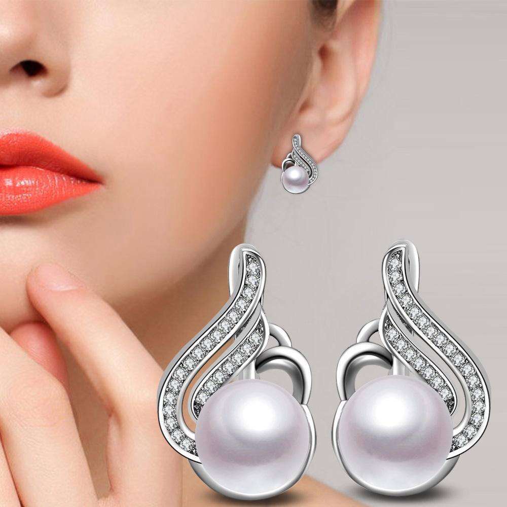 Trendy Natural Glossy Imitation Pearl Stud Earrings For Women 925 Sterling Silver Elegant Fine Jewelry Brincos Wedding Earrings