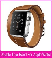 Extra Long Genuine Leather Band For Apple Watch Double Tour With Original Stainless Steel Adapters Both