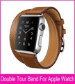 Extra Long Genuine Leather Band For Apple Watch Double Tour With Original Stainless Steel Adapters Both 38mm 42mm Are Available