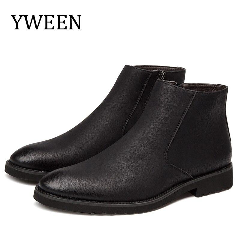 YWEEN Men Leather Chelsea Boots Autumn Winter Men Microfiber Leather Boots Men Dress Wedding Boots
