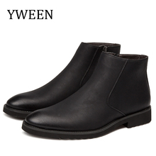 YWEEN Men Leather Chelsea Boots Autumn Winter Microfiber Dress Wedding