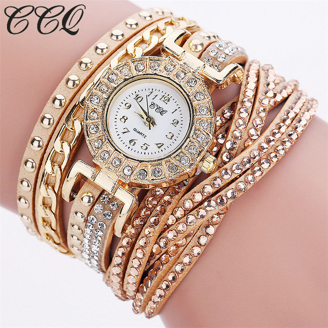 CCQ Watch Women Brand Luxury Gold Fashion Crystal Rhinestone Bracelet Women Dress Watches Ladies Quartz Wristwatches C84
