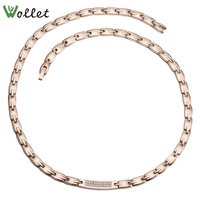 Wollet Jewelry Rose Gold 316L Stainless Steel Necklace Pendant for Women CZ Stone Hematite Germanium Prong Setting 48cm 0.65cm