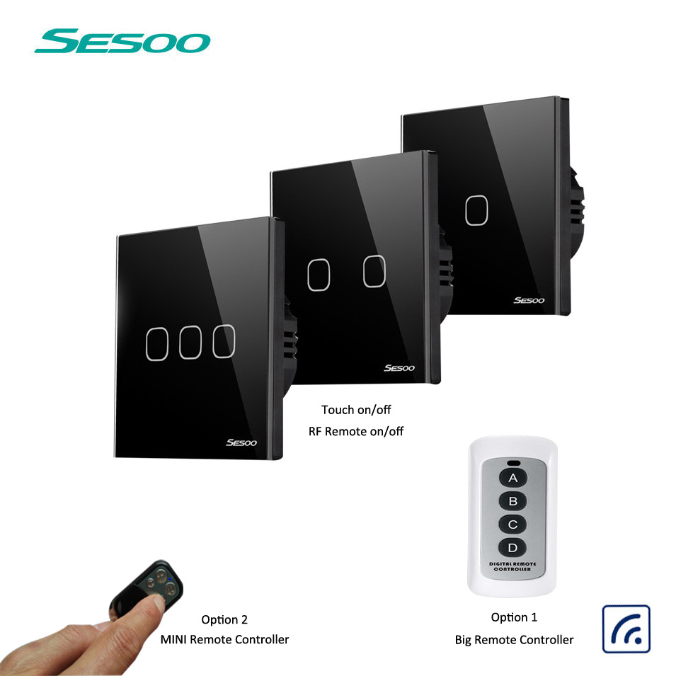 EU SESOO Wall Switch 1 2 3 Gang 1 Way Wireless Remote Control Light Switch LED Indicator For RF433 Smart Home Touch Switch smart home uk standard crystal glass panel wireless remote control 1 gang 1 way wall touch switch screen light switch ac 220v