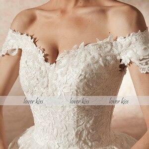 Image 2 - Lover beijo vestido de noiva vestido de noiva vestido de noiva de luxo miçangas fora do ombro com trem robe mariee mariage