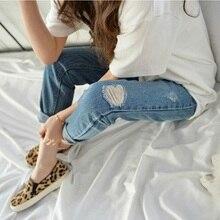 Мода новые дамы пят проблемные джинсовые брюки плюс размер свободные повседневная ripped сломанной отверстие гарем джинсы для женщин