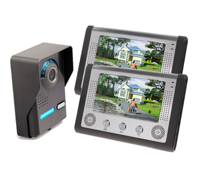 freeship by DHL 7 Inch Video Door Phone Doorbell Intercom Kit 1-camera 2-monitor Night Vision Wired